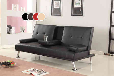 Furniture Instore - Cinema style faux leather sofa bed - Save 56%