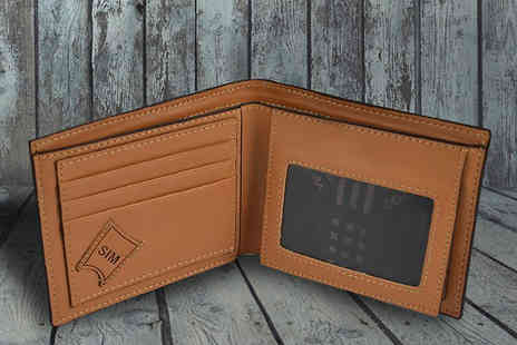 Gadgetcking - Luxury Mens Brown Faux Leather Bifold Wallet - Save 30%