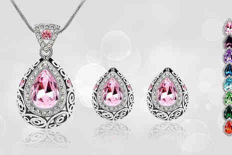 Richardson Group - Crystal Necklace & Earrings Set - Save 50%