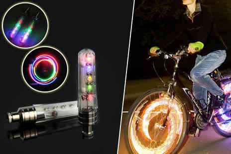 Aven Republic - Two LED rainbow bike lights for four - Save 84%
