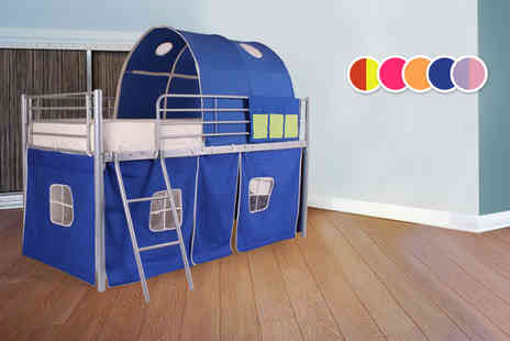 BeddyBows - Kids cabin bed with under tent and tunnel choose from five colours - Save 51%