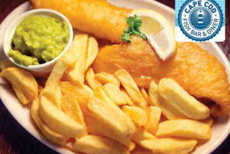 Cape Cod Fish Bar - Fish and Chips with Side and Drink for Two - Save 53%