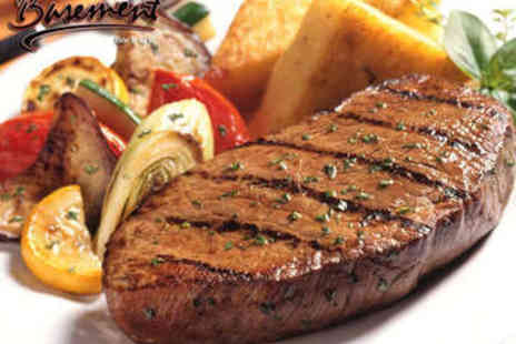 Basement Bar & Grill - Steak Meal for Two with Wine - Save 52%