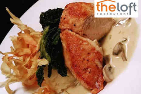 The Loft - Two Course Meal with Wine for Two - Save 47%