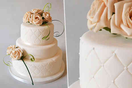 Ann's Designer Cakes - Three tier luxury round wedding cake with silk flowers and ribbons - Save 66%