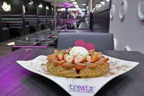 Spa Treatz - Waffle or Crepe with Ice Cream and Hot Drink for Up to Four  - Save 47%