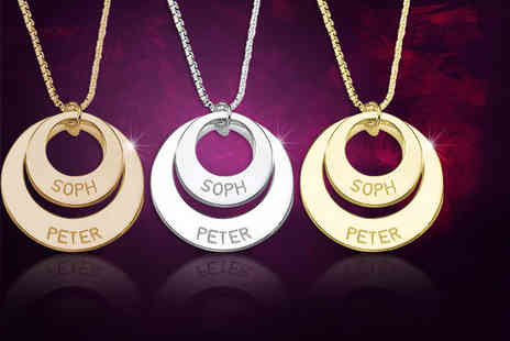 Cian Jewels - Personalised double ring necklace engraved with two names of your choice - Save 84%