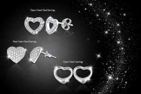 Jewel Unique - 18ct white gold plated heart earrings with Swarovski Elements - Save 90%