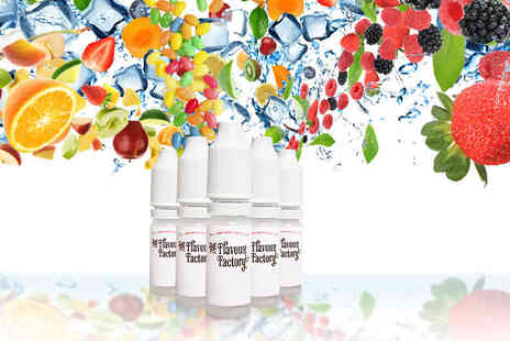 Flavour Factory  - Five nicotine free 10ml e liquids Plus Delivery included  - Save 65%