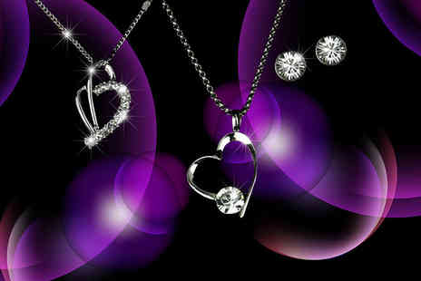 Aspire - Heart pendant and earring set made with Swarovski Elements in a choice of two styles - Save 88%