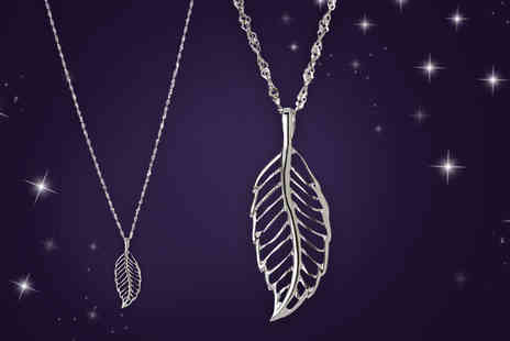 Jewel Unique - 18k white gold-plated sterling silver feather pendant necklace - Save 89%