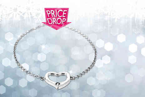 Jewel Unique - White gold plated heart bracelet with a Swarovski Elements crystal - Save 92%