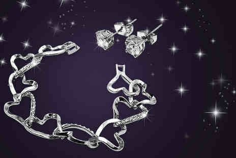 Simply 24k - Crystal heart link bracelet and earrings set made with Swarovski Elements - Save 85%