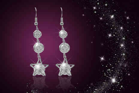 Cian Jewels - Pair of star drop earrings in a choice of three colours - Save 88%