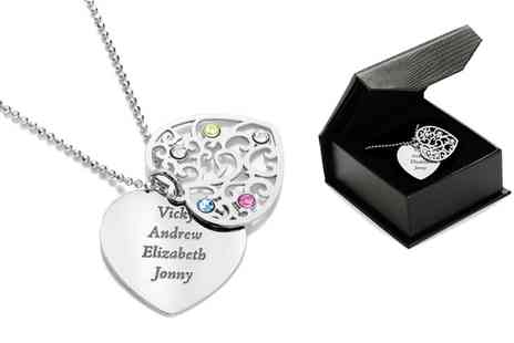 SilvexCraft - Personalised Two Heart Necklace Made With SWAROVSKI ELEMENTS With Free Delivery  - Save 71%