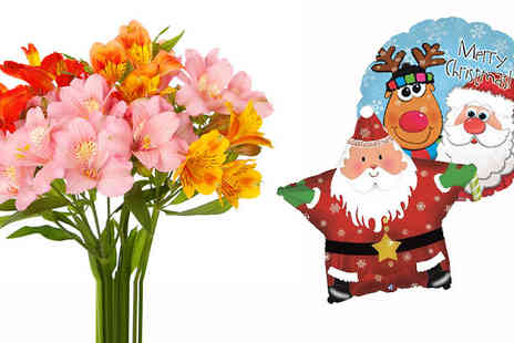 Flowersdelivery4u - Mix Alstroemeria Bouquet with Christmas Balloon - Save 36%