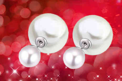 Diamond Republic Jewllery - White Gold Plated Faux Pearl Earrings - Save 73%