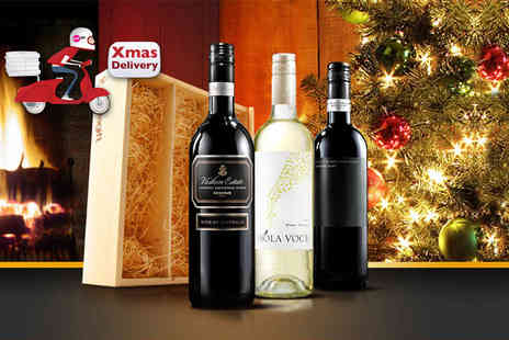 Virgin Wines - Three bottles of wine complete with a hand crafted wooden display box  - Save 40%
