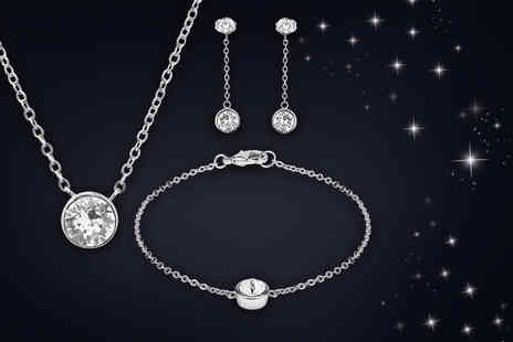 The Gemseller - 18k necklace, bracelet and drop earring set made with Swarovski Elements - Save 0%