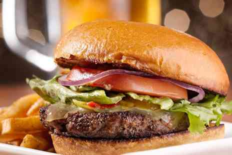 seattle steakhouse - Gourmet Beef Burger with Pulled Pork, Chips and a Pint of Beer for Two - Save 52%