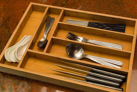 Elegant Trading - Bamboo Wooden Cutlery Tray - Save 66%