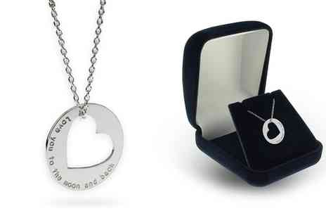 Silvexcraft Design - Personalised Sterling Silver Circle and Heart Necklace With Free Delivery - Save 80%