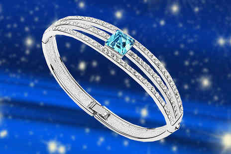 Diamond Republic Jewllery - Three Bar Swarovski Elements Crystal Bangle - Save 82%