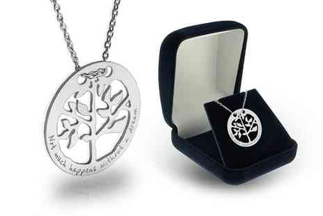 Silvexcraft Design - Sterling Silver Tree of Life Necklace With Engraving With Free Delivery   - Save 75%