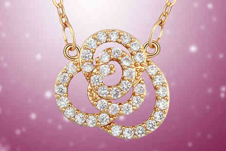 Diamond Republic Jewllery - Swarovski Elements Crystal Rose Necklace - Save 74%