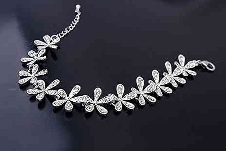 Diamond Republic Jewllery - Swarovski Elements Crystal Leaf Bracelet - Save 73%