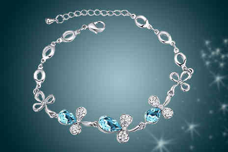 Diamond Republic Jewllery - Blue & White Swarovski Elements Crystal Bracelet - Save 80%