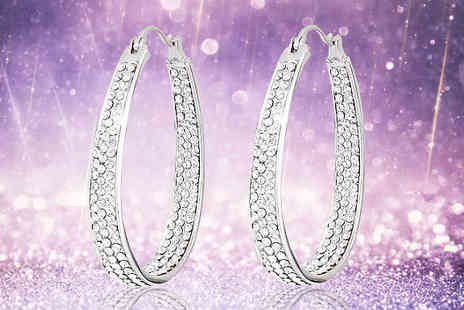 Diamond Republic Jewllery - Inside Out Swarovski Hoop Earrings - Save 91%