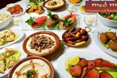Med Mezze - Ten Mezzes, two deserts and a bottle of wine for two people and Enjoy exotic belly dancing entertainment - Save 64%