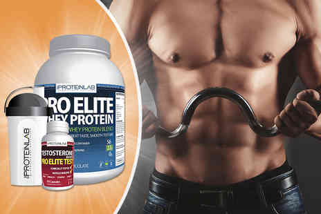 The Protein Lab - 2.25kg of whey protein shake, shaker bottle and 60 testosterone boosters - Save 69%