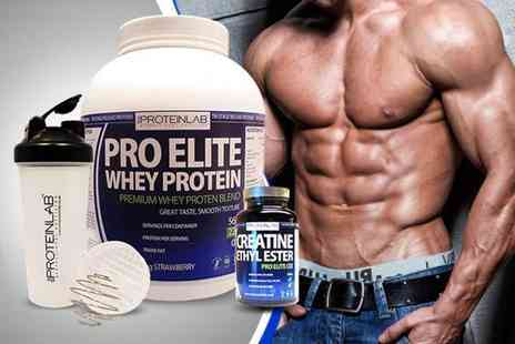 The Protein Lab -   28 day supply of whey protein shake, 600ml shaker bottle and 240 creatine tablets - Save 68%