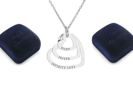 Silvexcraft Design - Personalised Sterling Silver Triple Hearts Necklace With Free Delivery  - Save 75%