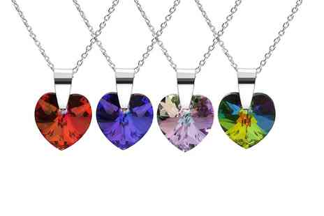 Silvex Craft - Sterling Silver Heart Pendant With SWAROVSKI ELEMENTS  and Chain with  Free Delivery  - Save 60%