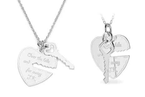 Silvex Craft - Engraved Sterling Silver Heart and Key Necklace With Free Delivery  - Save 78%