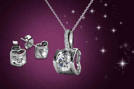 My Boutique Store -  18k white gold plated duo set made with Swarovski Elements - Save 95%