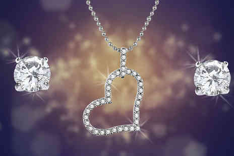 Romatco - Crystal Heart Necklace and Earrings Set - Save 82%