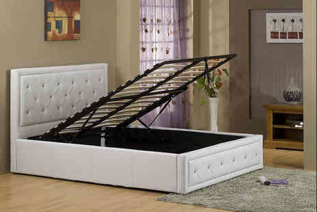 FTA Furnishing - Single diamante faux leather storage bed - Save 43%