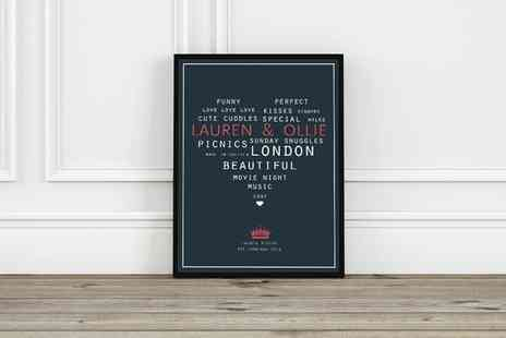 Prints With Feelings - Personalised Valentines Print  - Save 72%