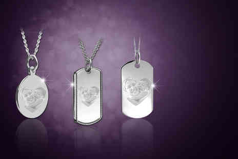 British Gem - Sterling silver personalised engraved photo necklace choose from three stunning designs - Save 64%