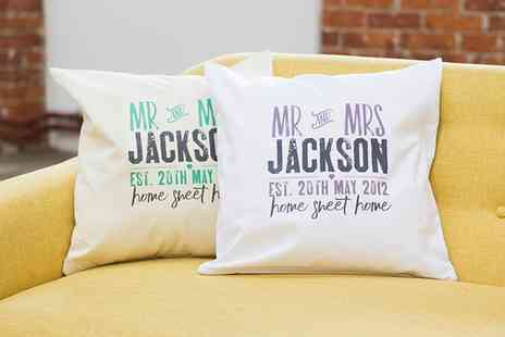 Prints with Feelings - Personalised Mr and Mrs Cushion Cover With Inner - Save 62%