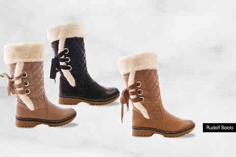 Sole Wish - Pair of Ladies Faux Fur Lined Winter Boots  - Save 73%