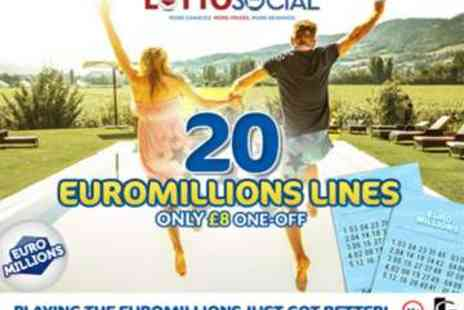 Lotto Social EuroMillions Syndicate - 20 EuroMillions Syndicated Lines plus Raffle Entries - Save 47%