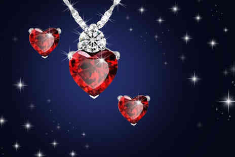 My Boutique Store - 18k white gold plated heart necklace and earrings - Save 93%