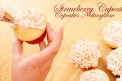 Strawberry Cupcakes - 2.5 Hour Cupcake and Chocolate Flower Making Class For Two - Save 80%