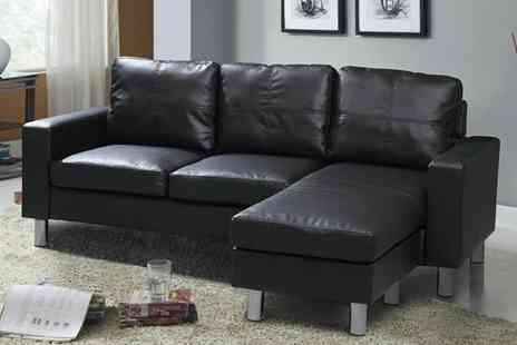 Sleep Design - L Shaped Faux Leather Sofa - Save 60%