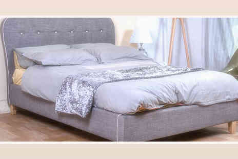 FTA Furnishing - Small double grey and white fabric bed frame - Save 40%